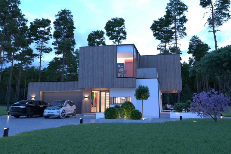 wizualizacja domu z garażem