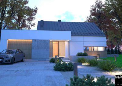 wizualizacja domu piętrowego z przodu