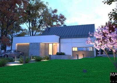 wizualizacja domu piętrowego garaż